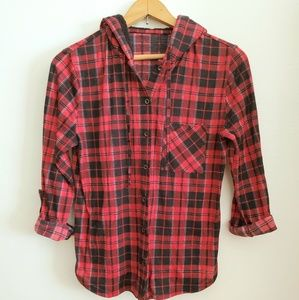 Flannel Button-Up with Faux Wool Hoodie